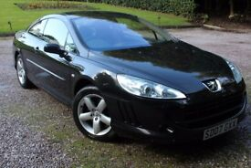 2007 PEUGEOT 407 COUPE BLACK FULL LEATHER LOVELY CONDITION FULL MOT ALSO HAS PARKING SENSORS
