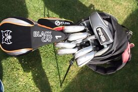 Golf bag, full set McGregor Carbon clubs, Ping putter, Black Cat Driver...