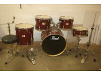Pearl Export ELX Series Cherry Lacquer Full 5 Piece Drum Kit (22in Bass) + Hardware + Paiste Cymbals