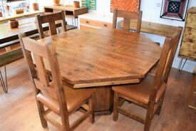 Solid Wooden Table with 4 matching Chairs