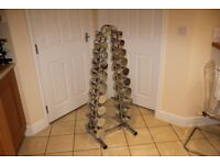 Weights - Marcy chrome dumbbells / dumbells (1-10kg pairs) plus dumbell rack / storage, as new