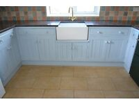 """White Belfast kitchen sink 10""""D x 23""""L x 17.5""""W and gold plated mixer tap"""