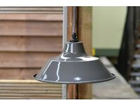 BEAUTIFUL NEW MEDIUM Grey Enamelled Steel Industrial Factory Ceiling Light Pendant Shade (9 avail)