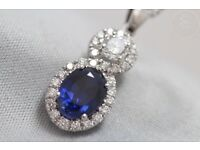 Newly hand-made 18ct Gold Unheated Sapphire+Diamond Pendant & Chain -Certificate