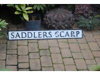 Grayshott Surrey Vintage Large Metal Road Sign Sadlers Scarp Garden Decor