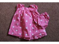 Baby Girl M&S Pink dress with white spots and matching knickers set, size 3 – 6 months