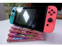Nintendo Switch Neon With Pro Controller and 4 Games - Excellent Condition