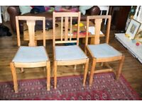 Three Oak Dining Chairs for Restoration/upcycling