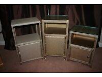Bedside Cupboards & Laundry Basket by Lloyd Loom Original