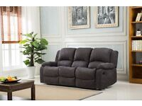 Luxury Valencia Lazy Boy 3 Seater Fabric Recliner Charcoal