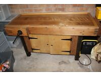 Old School Woodworking Bench - Heavy Duty - Solid Beech - 2 Vices