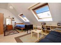 A bright and spacious studio loft conversion for rent in Kingston. Southsea Road.