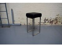NEW Backless Black Faux Leather Bar Stool for Breakfast Bar Kitchen Silver H 65cm