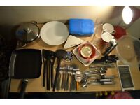 Box filled with cutlery & crockery