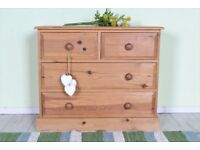 DELIVERY OPTIONS - QUALITY WAXED SOLID PINE CHEST OF DRAWERS 2 OVER 2, DOVETAIL