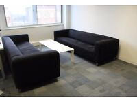 Four seater x 2pcs reception sofa Black Fabric Sofa office waiting room