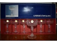 Set of 6 unused Crystal D'arques champagne glasses / bowls in box Longchamp