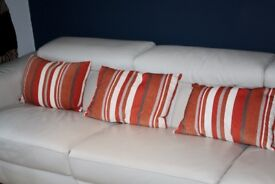 Orange, Mocha and Cream Striped Cushions x 4 - Cost £70 new