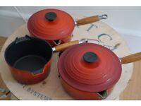 Le Creuset cast iron saucepans - 16cm, 18cm, 20cm