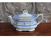 Vintage and Unusual Alfred Meakin Square Ceramic Teapot Harmony Shape Antique Retro