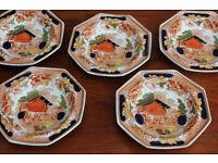 5 Vintage Antique Bowls Swiss Pastime - T Hughes & Sons Late Davenport Longport Kitchenalia