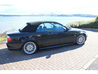 BMW 330 M SPORT CONVERTIBLE BLACK E46 FSH 1 YRS MOT RARE MANUAL ALLOYS LEATHER ETC