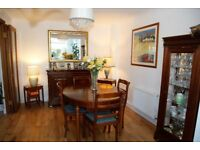Quality, stylish French dining room furniture. Extending table, 4 chairs, sideboard, display cabinet
