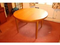 Dining table, teak expandable, legs detach for transporting