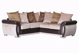 /BRAND NEW / / Luxury Helix Chenille Fabric And Leather Corner Sofas ** FREE DELIVERY