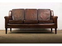 DISTRESSED ANTIQUE STYLE AGED CHESTNUT CLUB LEATHER 3 SEATER SOFA RRP £2995