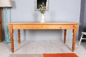 DELIVERY OPTIONS - 6 FT FARMHOUSE PINE TABLE WITH TURNED LEGS RUSTIC AGE MARKS
