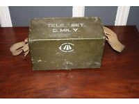 WW2 MILITARY FIELD TELEPHONE & MORSE TELE SET D MK V WWII BRITISH