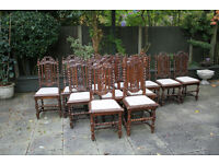 Set of six plus six closely similar antique Victorian oak chairs