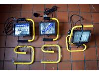 3 x Screwfix 500W IP44 Halogen Site Lights (2 unused) 11281