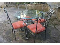 Glass Dining Table with 4 Metal Chairs