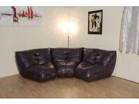Ex-display Vasto plum leather curved modular 3 piece sofa
