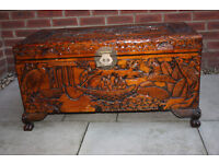 Hand carved wooden storage chest