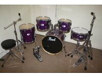 "Pearl EX Series Purple 5 Piece Complete Drum Kit (20"" Bass) + Stands + Stool + Cymbals"