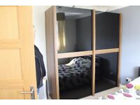 Harveys Large Walnut & Black Glass Wardrobe W200xH215xD69cm, Excellent Condition, OPEN TO OFFERS