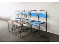 6 retro industrial distressed painted metal chairs (6 available)