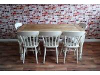 Farmhouse Rustic Extending Dining Table Set Oak - Brand New - Seats Up To 12