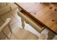 Fabulous traditional country farmhouse solid pine table brass cup handle draw and four beech chairs