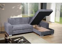 Lovely Brand New Corner Sofa Bed With Storage..GREY OR BEIGE. Can deliver