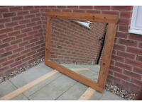 Extra large bevelled wall mirror in solid pine frame