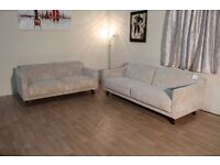 Ex-display G Plan Designer Vintage style cream jazz oyster fabric 3+2 seater sofas