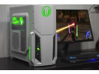 White Jedi Gaming PC Fast Performance Intel Quad Core 8GB GTX 770 Green LED Win10 Custom Backplate