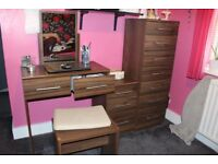 Walnut coloured six-piece bedroom furniture set (wardrobe, desk, stool, 3 drawer units)