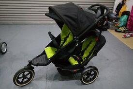 Phil & Teds Explorer Double Buggy in Black/Apple Colour