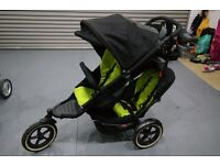 Phil & Teds Explorer Double Buggy in Black/Apple Colour