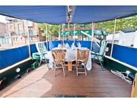 Unique house boat available to rent in Canary Wharf for up to 6 people